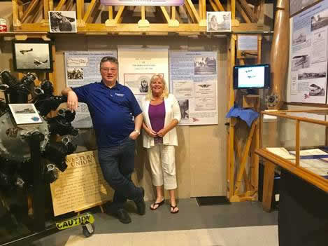 Addison Pemberton (L) and Jayne Singleton at the SVH Museum Exhibit (Whirlwind motor at left). Courtesy A. Pemberton.