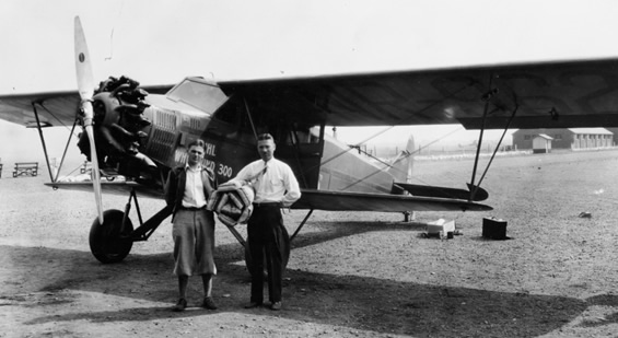 Art Walker (L) and Nick Mamer in front of special Buhl CA-6 Airsedan.