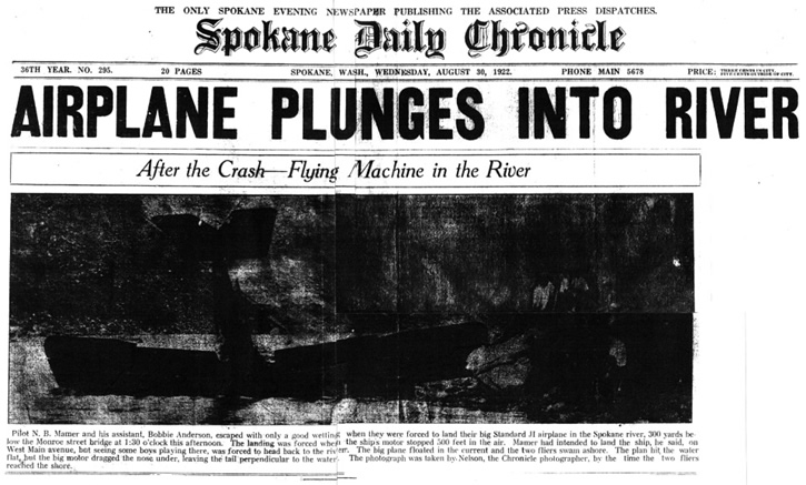 The front page of the Aug. 30, 1922 Spokane Daily Chronicle